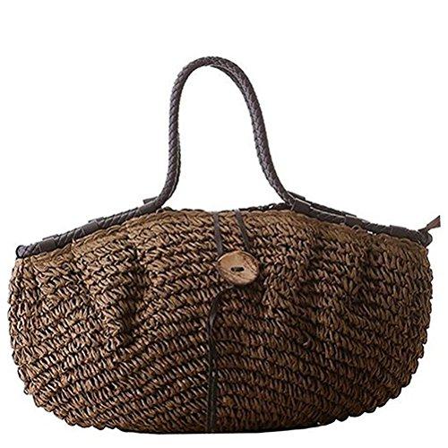 Donalworld femme été rétro en corde Grand sac de plage Café