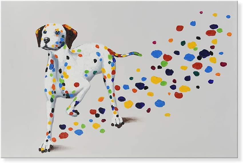 SEVEN WALL ARTS - Modern Animal Cute Pet Dog Painting Colorful Dalmatian Puppy with Colorful Footprint Funny Dogs Artwork for Home Decor 24x36 Inch