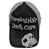 Camping Hair Don't Care Glittering Rocks any Outfit Trucker Style Cap Hat (Black/Silver)