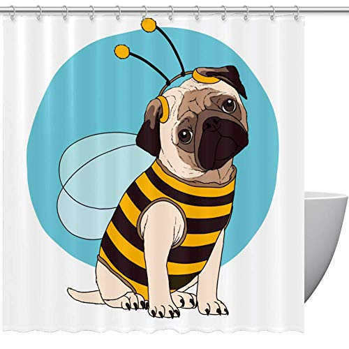 Lilibeely Shower Curtains Funnly Pug Costume Bee Print Eco-Friendly Fabric Shower Room Curtain Durable Waterproof Home Bath Curtain Sets with 12 Hooks,60 x 72 inch