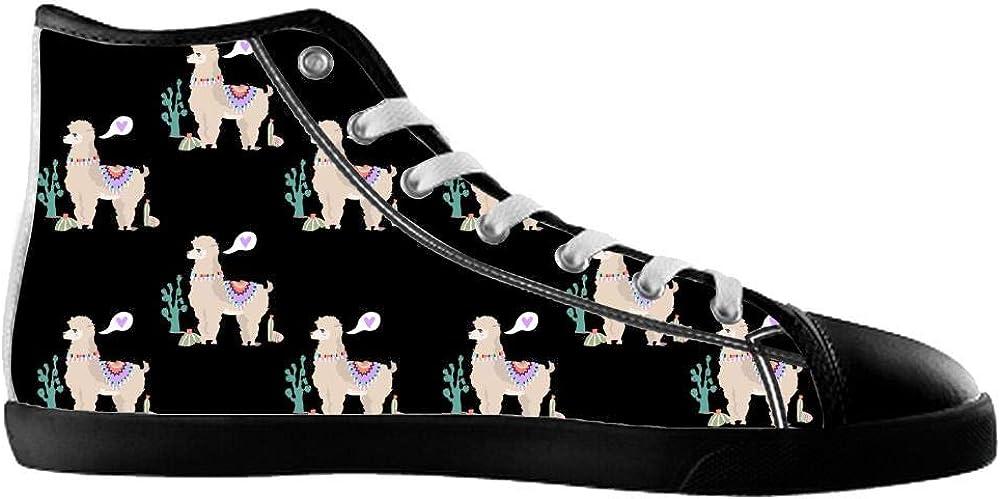 COL DOM Canvas Mens Shoes Llama Shoes Cute Llama Shoes High Top Canvas Mens Shoes
