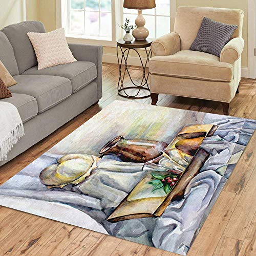 - Semtomn Area Rug 5' X 7' Watercolor on Elegant Life Unusual Pumpkin and Light Home Decor Collection Floor Rugs Carpet for Living Room Bedroom Dining Room