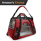 Soft Dog Bed - Premium Pet Travel Carrier, Airline Approved, Soft Sided with Fleece Bed Mats, Perfect for Small Dogs, Cats, Birds, Rabbits, and Chicken. (Red)