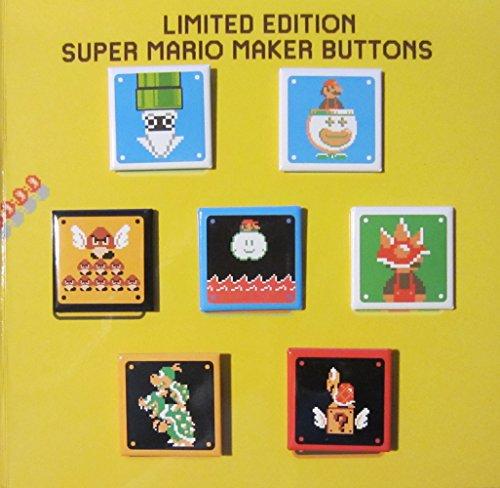 (Nintendo Wii U Super Mario Maker Limited Edition 7-Button Pin Set. Super Mario Bros. 30th Anniversary Edition Commemorative Collector's Edition Pins / Buttons.)