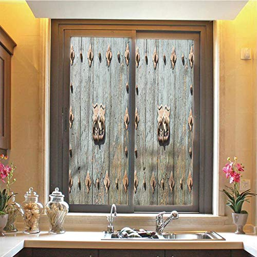 """Rustic 3D No Glue Static Decorative Privacy Window Films, European Cathedral with Rusty Old Door Knocker Gothic Medieval Times Spanish Style Decorative,17.7""""x59"""",for Home & Office Decor,Turquoise"""