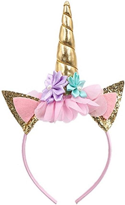 Diadema de unicornio con purpurina, con orejas de flor, para ...