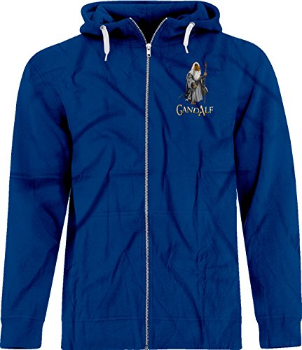 BSW Unisex Gand Alf Gandalf Lord of Rings Crest Zip Hoodie 4XL Royal