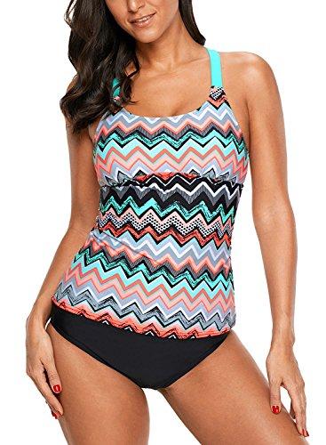 Eternatastic Womens Striped Print Racerback Tankini Swim Top No Bottom Swimsuit M Orange Zigzag