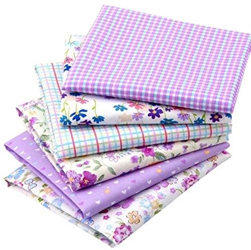 6 pcs/lot Floral Series Patchwork Cotton Fabric Fat Quarter Bundles Size: 40x50 cm (Purple) (Stripe Yarn Feather)