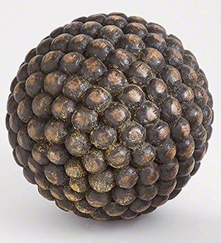 10'' Studded Wood Decorative Ball | Orb Sphere Rustic Charcoal Gray Round by My Swanky Home