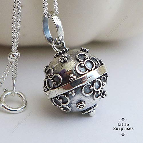 Silver 12mm Cute Flower - 12mm Small Flowers Chime Sound Harmony Ball Sterling Silver Pendant 16
