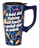 Spoontiques Fishing Travel Mug, Blue