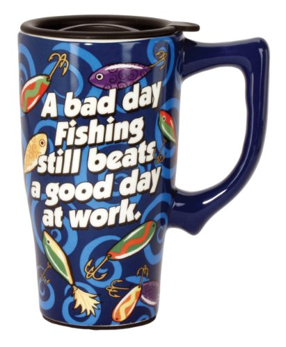 Spoontiques Fishing Travel Mug, Blue (Mug Travel Fishing)