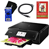 Canon Pixma TS8020 Wireless All-In-One Printer with Scanner, Copier & 4.3' Touch Screen (Black) + Set of Ink Tanks + Photo Paper Sample + USB Printer Cable + HeroFiber Ultra Gentle Cleaning Cloth
