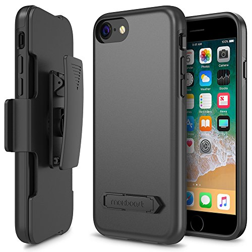 r, Maxboost DuraSlim Pro Apple iPhone 8/iPhone 7 Case with Kickstand and Swivel Belt Clip Cases Holder [Black] Dual Layer Protection/Shock-Absorbing Frame/Smooth Grip (2017) ()