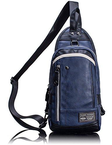 Leaper Cool Crossbody Sling Bag Outdoor Sports Shoulder Bag Unbalance Gym Bag Blue For Sale