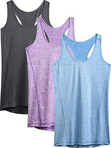 (Neleus Workout Running Racerback Long Tank Top for Women,8006,3 Pack,Grey,Purple,Light Blue,M,EU L)