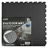 Interlocking EVA Foam Floor Mats And Edges - Playmat - Gym Tiles - Childrens Play Area Flooring Set - Black - 1 Pack (6 Floor Mats)60x60cm