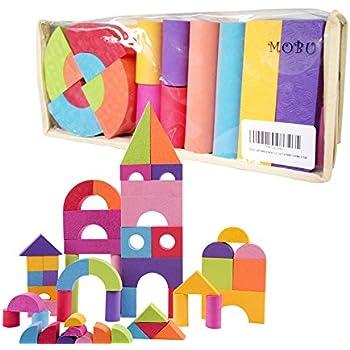 MOBU Soft Building Blocks Toys 50 Piece Creative Safe Bright Color EVA Foam Brick Set Educational DIY Building Blocks Set Toys For Babies Toddlers & Kids