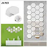 Cha Long 24 Pcs 8cm/3.15in Mirror Wall Stickers Hexagon Stickers Removable 3D Acrylic Surface Decal Home Room DIY Art Wall Decor Kitchen Home Decoration(Silver)