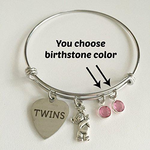Twins Gender Reveal Baby Shower Bracelet ~ Adjustable Charm Bangle for Pregnant Mom