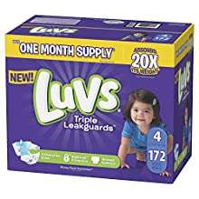 Diapers Size 4, 172 Count - Luvs Ultra Leakguards Disposable Baby Diapers, ONE MONTH SUPPLY (Packaging May Vary)