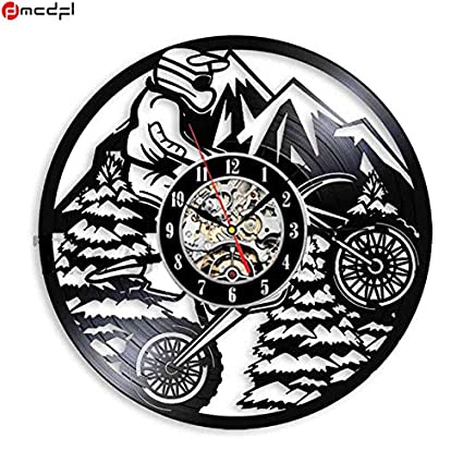 Kamas Home Living Modern Design Super Motor 12 inch Vinyl Wall Clock Motorcycle Sticker Decorative Relojes