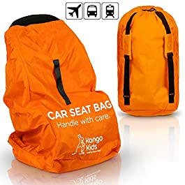 KangoKids Car Seat Travel Bag – Waterproof Carseat, Booster, Backpack Cover – Easy Carry Gate Check Bag for Airport – Extra Large, Durable Carrier with Handle and Adjustable, Padded Straps