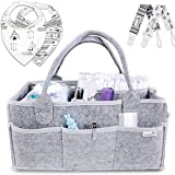 Putska Baby Diaper Caddy Organizer: Portable Holder Bag for Changing Table and Car, Nursery Essentials Storage bins gifts with 2 Pacifier Clips, 2 Bibs: more info