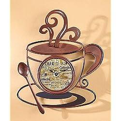 Decorative Metal Java Coffee Cup Clock