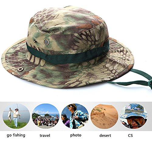 Military Jungle (ROUTESUN Men's Fishing Sun Hat Snap Wide Brim Bucket Hat With String,Military Camouflage boonie Hat Jungle Anaconda)