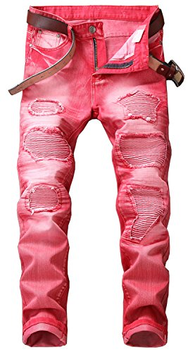 YTD Mens Distressed Ripped Biker Slim Jeans Stretched Moto Denim Pants (W30(Tag 32), Red)