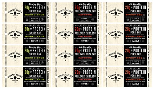 Country-Archer-Jerky-Meat-Protein-Bars-Variety-Pack-of-12-Turkey-Pork-Beef-Bars-Gluten-Free-Soy-Free