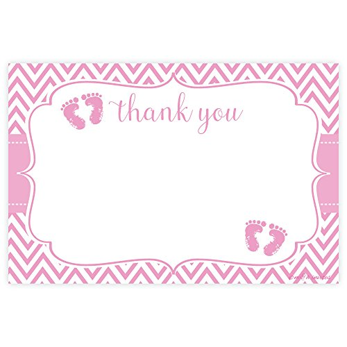 Pink Feet Girl Baby Shower Thank You Cards (20 Count) Baby Feet Flat Card