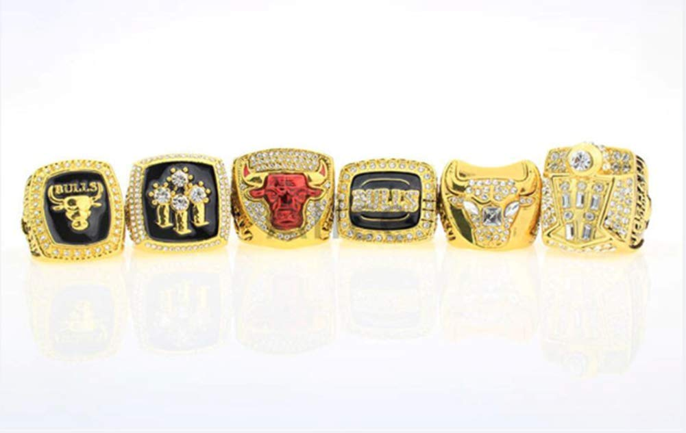 ZXY GF-Sports Store Ensemble de 6 NBA Bulls Championship Replica Ring par bo/îte daffichage Set-Collectible,11#