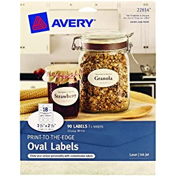 avery print to the edge oval labels glossy white 15 x 25 inches pack of 90 22814