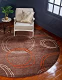 Unique Loom Autumn Collection Modern Circles Warm Toned Brown Round Rug (8′ x 8′)