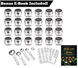 24 Magnetic Spice Tins with Bonus E-Book! Set of 24 Clear Top Lid with Sift 3 Pages of Clear Label Stickers 4 Stainless Steel Measuring Spoons Storage Spice Tins