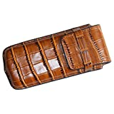 Portable Traveller's Luxury Single Watch Storage Case/Box//Pouch/Package One Slot Genuine Leather with Alligator Grain (Fit Large Watch) for Men Or Women (brown)