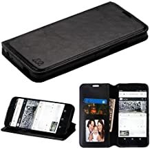 Alcatel Idol 5 Case, Alcatel Nitro 5 Case, Alcatel Idol 5 (6060C) Phone Case, BornTech PU Leather Fold stand Wallet pouch with ID Credit Card Slots Phone Case Cover (Black)