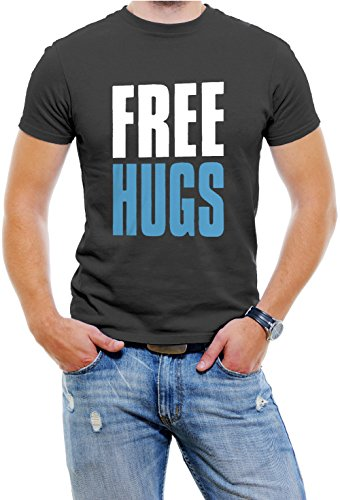 Free Hugs Men T-Shirt Soft Cotton Short Sleeve Tee[Black,X-Large]