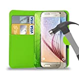 Green Leather Wallet Case Cover Pouch With Tempered Glass Screen Protector For All New Nokia Lumia 640/635/630/735/730/520/525/435/625