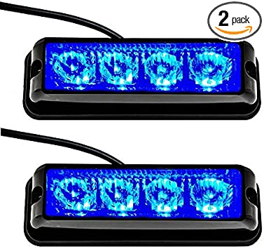 Red Strobelight Bar 4 LED with Super Bright Emergency Beacon Flash Caution Strobe Light Bar with 17 Different Flashing-2PCS