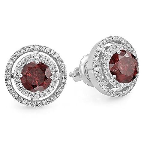 14K White Gold Round Garnet & White Diamond Ladies Halo Style Stud Earrings (Garnet Rings Clearance)
