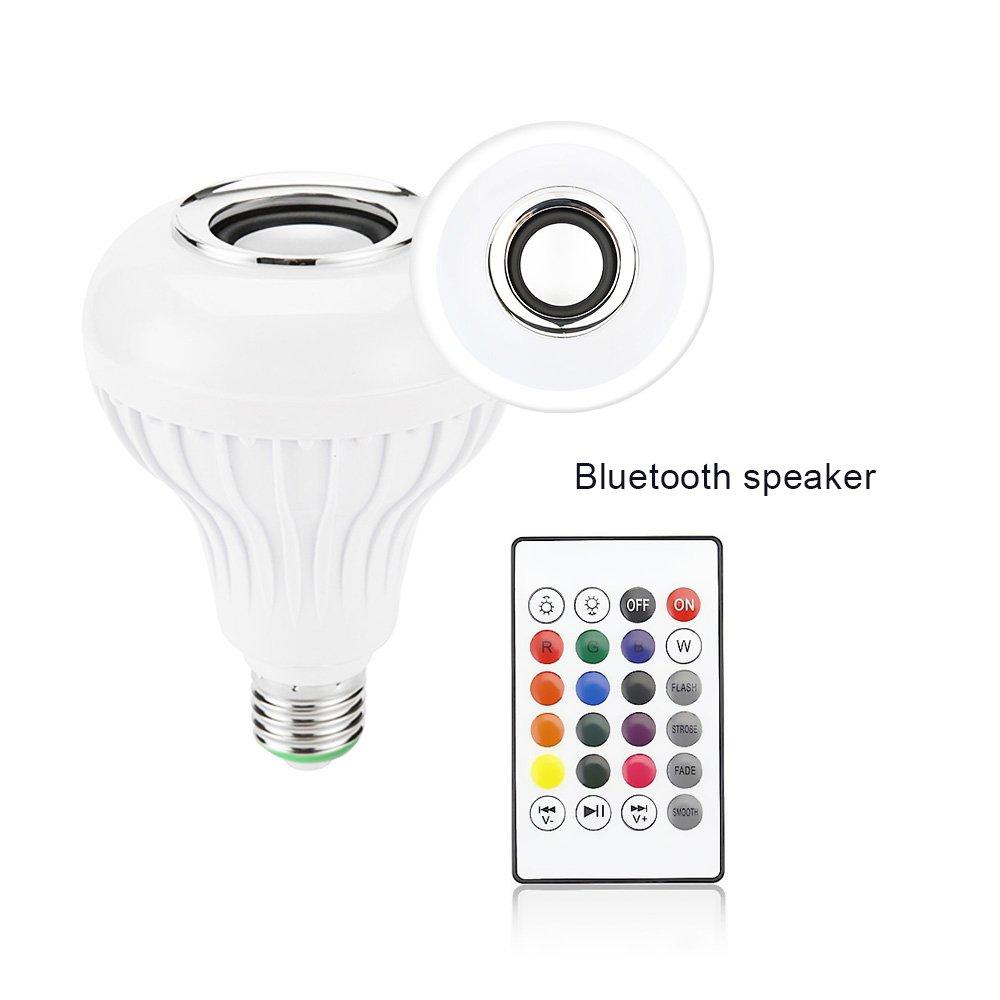 Amteker Lampadina Bluetooth Altoparlante, E27 RGBW Cambiare Colore Lampada con Telecomando per Casa, Palco, Bar, Decorazione del Partito