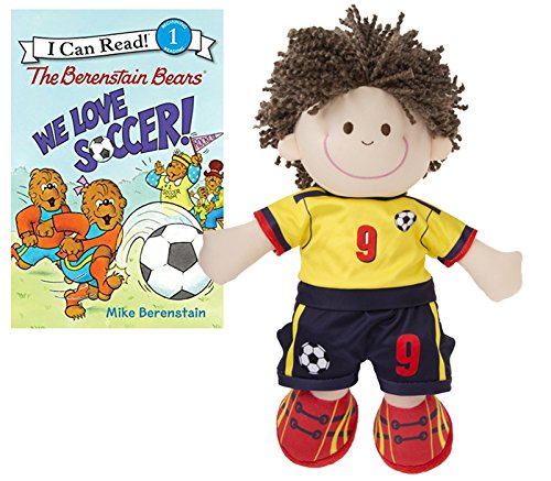 Toddler Little Boys Soccer Plush Toy Doll Player by Ganz with The Berenstain Bears We Love Soccer Book by For you with love