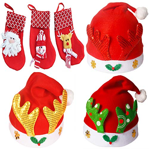 Christmas Hat &Small Christmas Sequin Sock for Childrens and Adults, Non-woven Pleuche New Hat & Sock for Celebrations and Recreation(3 Pack) (Woven Kids Socks)