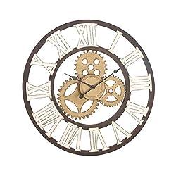 Deco 79 22622 Metal Wall Clock, 30, Black/White/Gold