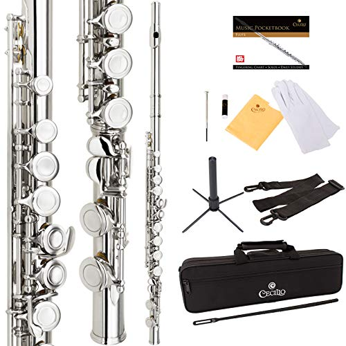 Cecilio High Grade Student C Flute Package in Silver Nickel