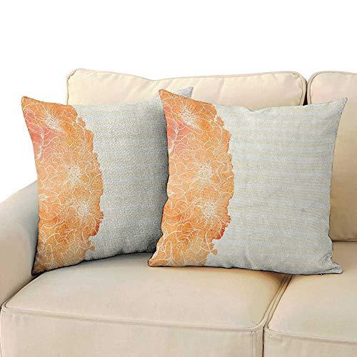 Serra Design Island - Ediyuneth Home Sofa Cushion Cover Pillowcase Gift Flower,Tropical Exotic Hawaiian Island Floral in Side Frame with Abstract Stiped Backdrop, Vermilion 18